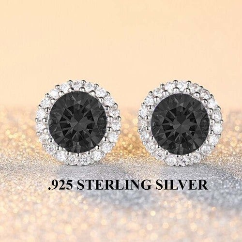 Stunning .925 Sterling Sterling Halo Spinel Black Earings