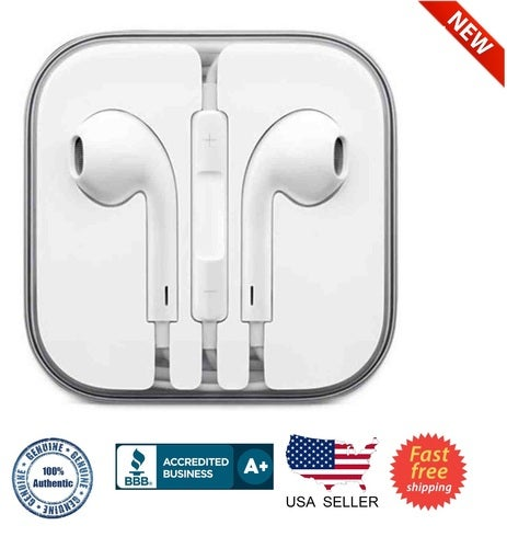 Apple Earpods Earphones for iPhone 6, 5 and 4S with Remote & Mic - MD827LL/A-Bulk