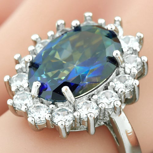 14k White Gold Filled, Beautifully Created Fine Blue Mystic Topaz & White Sapphire Ring sm8677