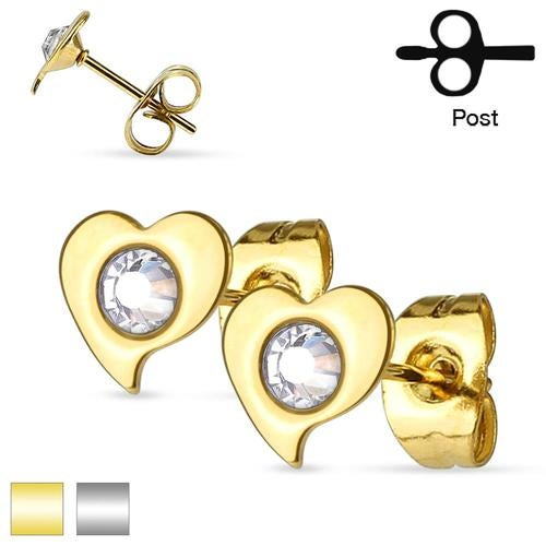 Pair of Crystal Set Heart 316L Surgical Steel Ear Studs