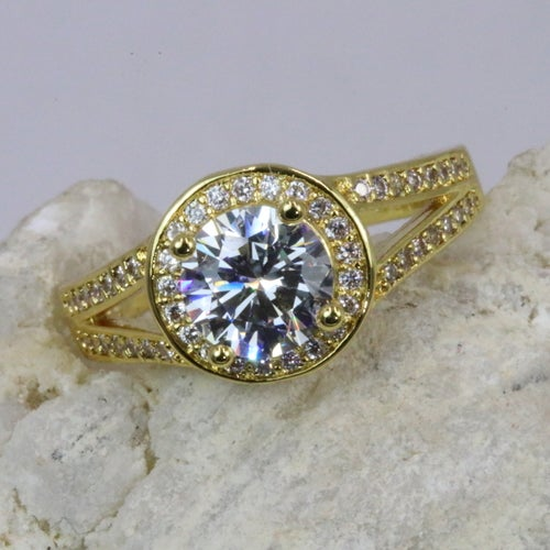 """Alpha Jewelry 2017 """"Limited Anniversary Addition"""" has arrived!! Pure White 2CT 5AAAAA level Genuine Italian Zircon central stone, inlaid with over 50 3AAA grade Zircon stones to compliment the main stone. Superior quality of Yellow gold plating. 3X o"""
