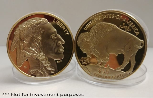 1Troy Oz .999 gold Clad $50 Gold (Private Mint) Commemorate ***AMERICAN BUFFALO COIN*** Gold Clad Mint