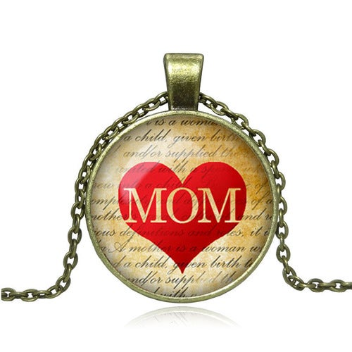 Fashion 27MM Round Mom Pendant Mom Necklace Mom Jewelry Fantasy Style Art Gift