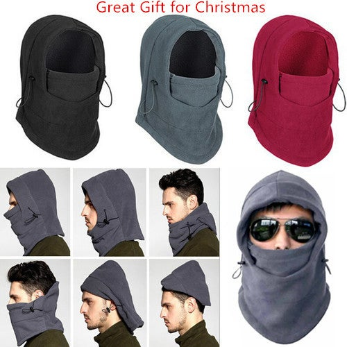 Great Gift for Christmas 6 in 1 Thermal Fleece Balaclava Outdoor Ski Masks Bike Cyling Beanies Winter Wind Stopper Face Hats