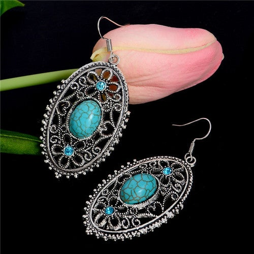 Ethnic Style Silver and Turquoise Dangle  Earrings