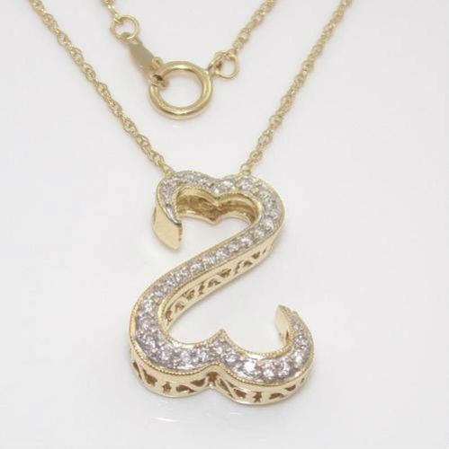Large Yellow Gold Plated Popular Open Heart Style CZ Necklace