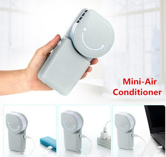 Portable Smile Face Mini ABS USB Handheld Air Condition Cooling Cooler Water Fan