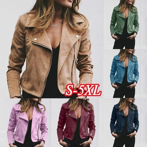 0b6909b15 Fashion women's slim long-sleeved short motorcycle l... | Tophatter