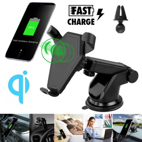 Qi Wireless Fast Charger Car Air Vent Dashboard Holder For iPhone X 8 Samsung S8