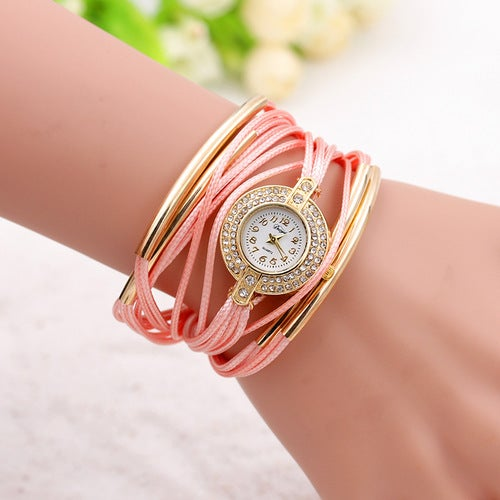Hand-woven single-loop multi-rope watch female models two rows of drilling rope fashion jewelry table