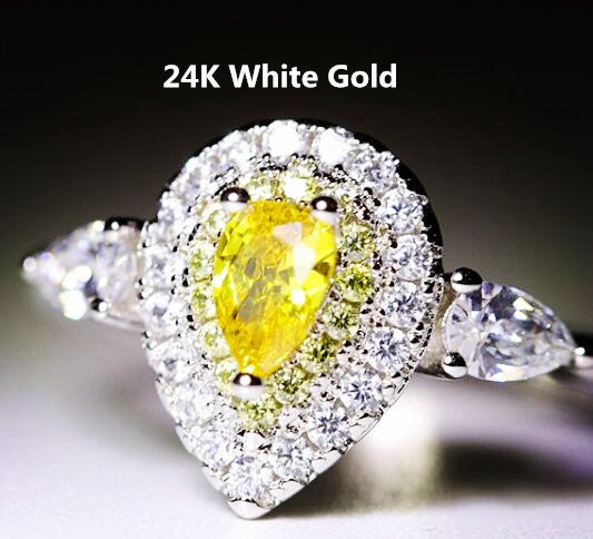 24K White Gold Plated Austria Crystal Zircon Lady Engagement Band Ring