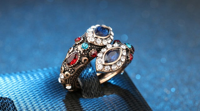 Antique Gold Multi-Gem, Crystal With Blue Sapphire Double-Head Ring Size 7 & 8