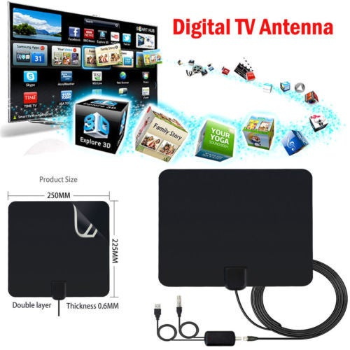 HDTV Amplified Indoor Digital TV Antenna High Gain 50 Miles Range Strong Signal