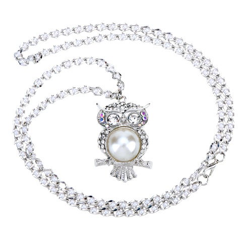 Romacci Shinning Hollow Pearl Owl Pendant Collar Chain Necklace Jewelry