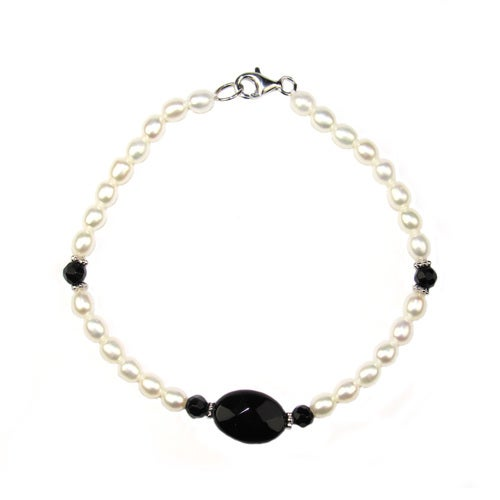 Chaming Mix of Baroque Genuine Cultured Freshwater Pearl & Faceted Onyx Beads Bracelet