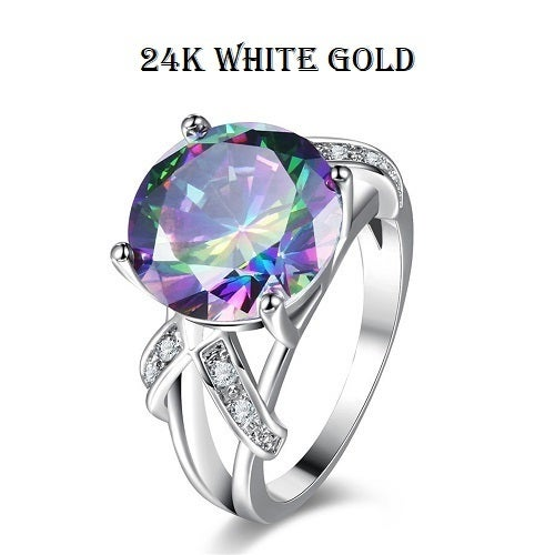 24K white gold filled 3.5ct rainbow CZ ring size 7,8,9