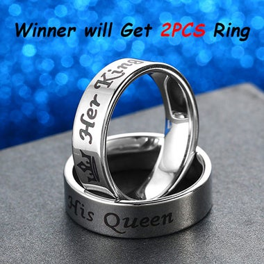 2PCS King and Queen Couple Rings Titanium Rings
