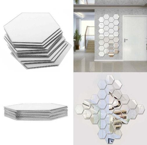 12 Pack 3D Small Mirror Acrylic Wall Stickers Hexagonal Home Decors - Choose Size