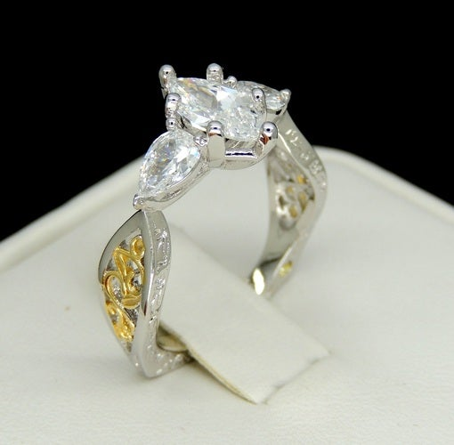 Brilliant marquise cut two tone gold filled