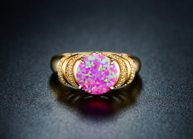 Yellow Gold Filled and Pink Genuine Ethiopian Opal Statement Ring