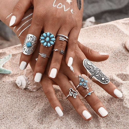 Win and get all 9 pieces Bohemian Ring Tibetan Silver