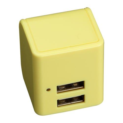 12W Dual USB AC Travel wall charger Adapter with foldable wall prong - Yellow