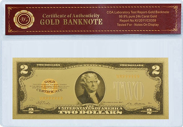 1928 24K $2 DOLLAR CERTIFICATE IN LIMITED EDITION WITH CERTIFICATE OF GOLD AUTHENTICITY