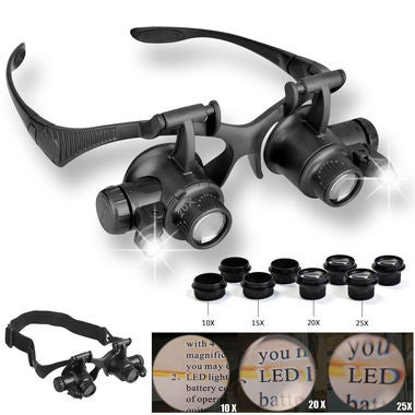 10/15/20/25X Lens LED Magnifier Double Eye Glasses Loupe Watch Jeweler Repair