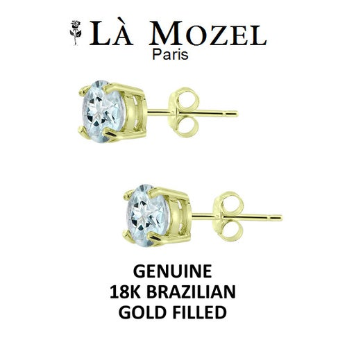 Luxurious 18K Brazilian Gold Filled 2 Carat Sky Blue Round Stud Earring