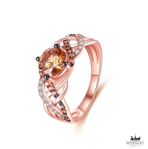 Rose Gold Plated Round-Cut Champagne Cubic Zirconia Braid Ring