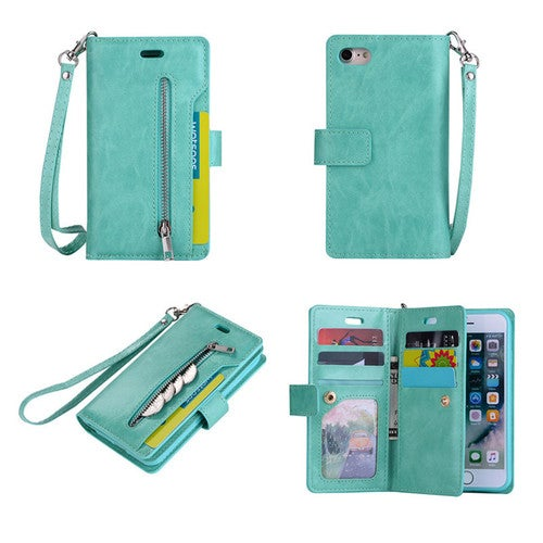 Fashion Mobile Wallet Purse Case Bag For iPhone 7 Plus iPhone 7 6 6S Plus Samsung Galaxy S8 Plus Galaxy S7 Edge Android Galaxy S7  With 9 Credit Card Slot Hand Lanyard Rope Kickstand PU Leather Cell Phone Cover