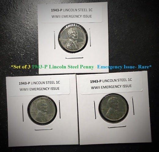 Lot of 3 COINS: 1943 Lincoln Cent World War II Steel Penny EMERGENCY ISSUE  (EF)-RARE