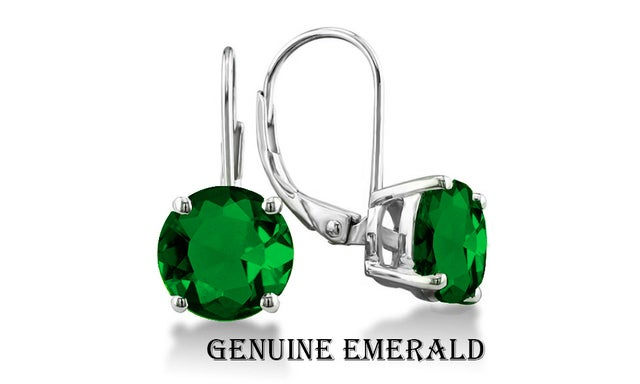 Stunning 2.00 CTTW 18K White Gold Plated W/Genuine Emerald Leverback Earings