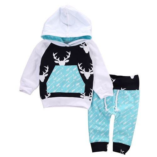 Toddler Baby Boys Hoodie Tops Pants Home Outfits Set Clothes 2Pcs Set