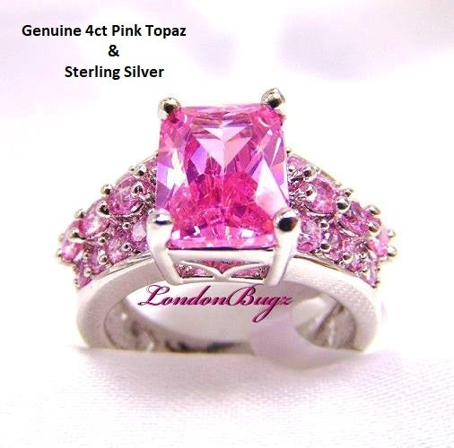 4ct Pink Topaz , Cluster Style, Sterling Silver