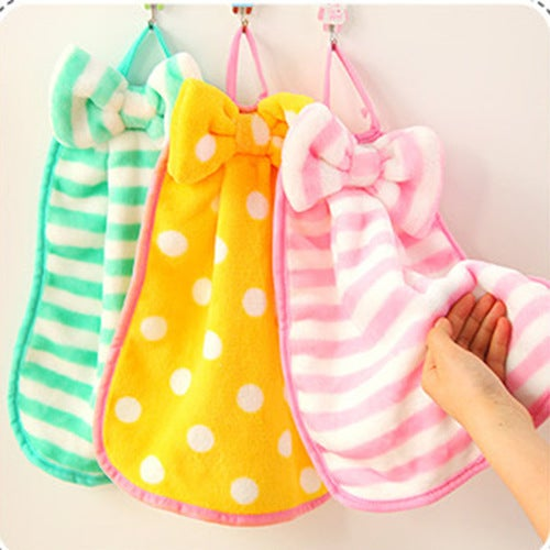 New qualified Multi-striped Bow Towel Absorbent Coral...