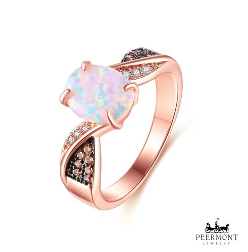 Rose Gold Plated White Fire Opal & Champagne Cubic Zirconia Twist Ring