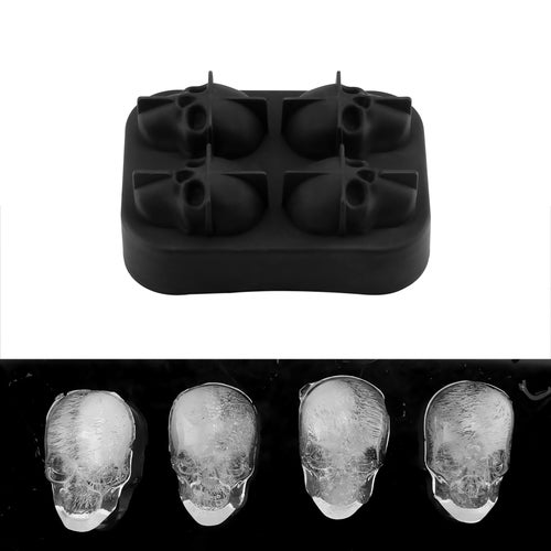 Skull Shape 3D Ice Cube Mold Maker Food Grade Silicone Mould Party Halloween Mould Gift