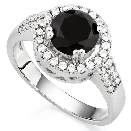 14k White Gold Filled, Beautifully Created Dark Blue and White Sapphire Ring