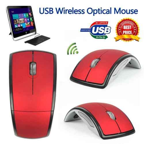 2017 New 2.4Ghz Foldable Wireless Optical Mouse Folding Optical Mouse Mice with USB Receiver For PC Laptop Computer Red