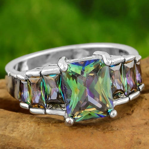 4.60ctw AAA+ Grade Green Mystic Cubic Zirconia CZ, 14k White Gold Filled Ring