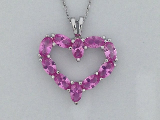 925 Sterling Silver Created Pink Sapphire Open Heart Necklace