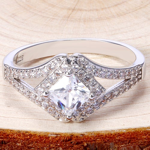 Delicate White Sapphire Sterling Silver 925 Ring