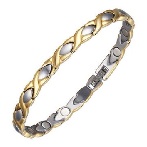 Womens 2-Tone Gold Plated Magnetic Therapy Bracelet