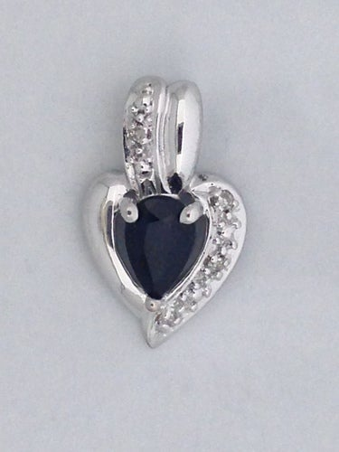 Natural Sapphire with Natural Diamond Pendant 925 Sterling Silver