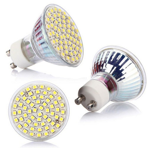 1 pcs GU10 60 LED 3528 SMD 5W Pure White 6500K High Power Spot Light Lamp Bulb 220V