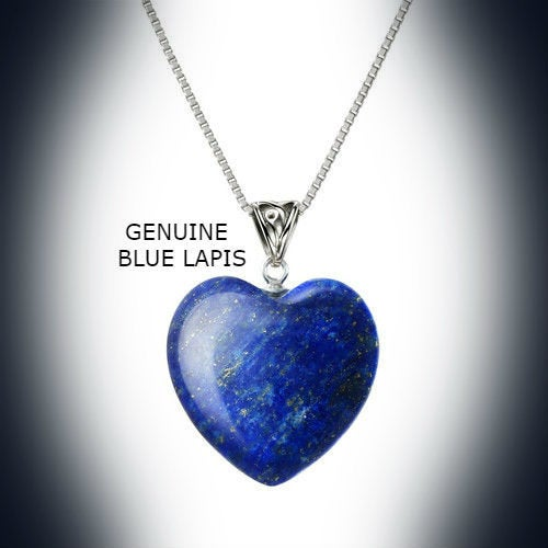 Sterling Silver Natural Blue Lapis Heart Stone Necklace