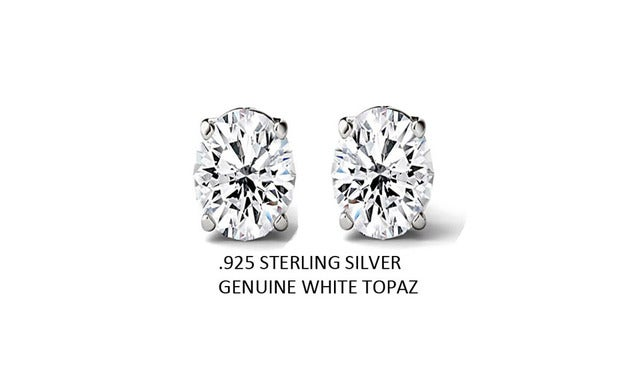 2.00 CTTW .925 Sterling Silver Genuine Oval White Topaz Stud Earings