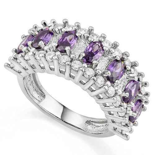 14k White Gold Filled, Beautifully Created Fine Amethyst & White Sapphire Ring