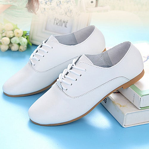 Girl Round Toe Flat Faux Leather Pure Color Lace-Up Low Cut Loafers Casual Shoes